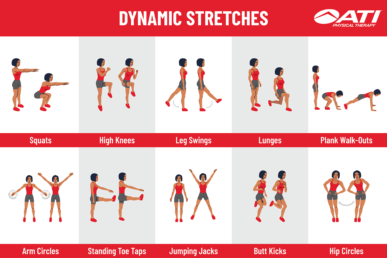 Dynamic stretching exercises with pictures
