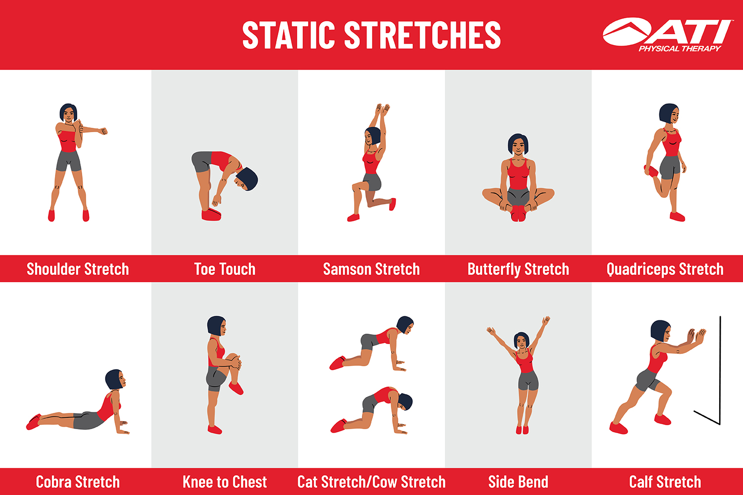 Static stretching exercises with pictures