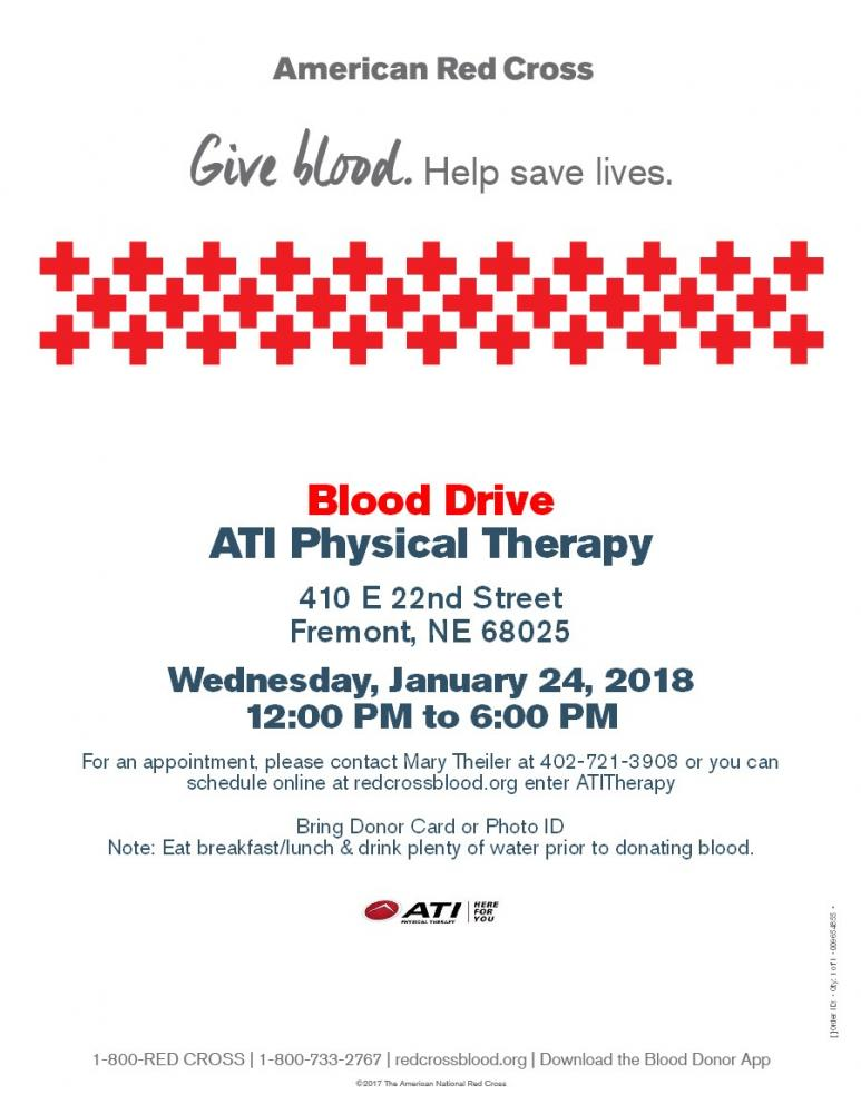 ATI Physical Therapy - Fremont, NE Blood Drive Flyer