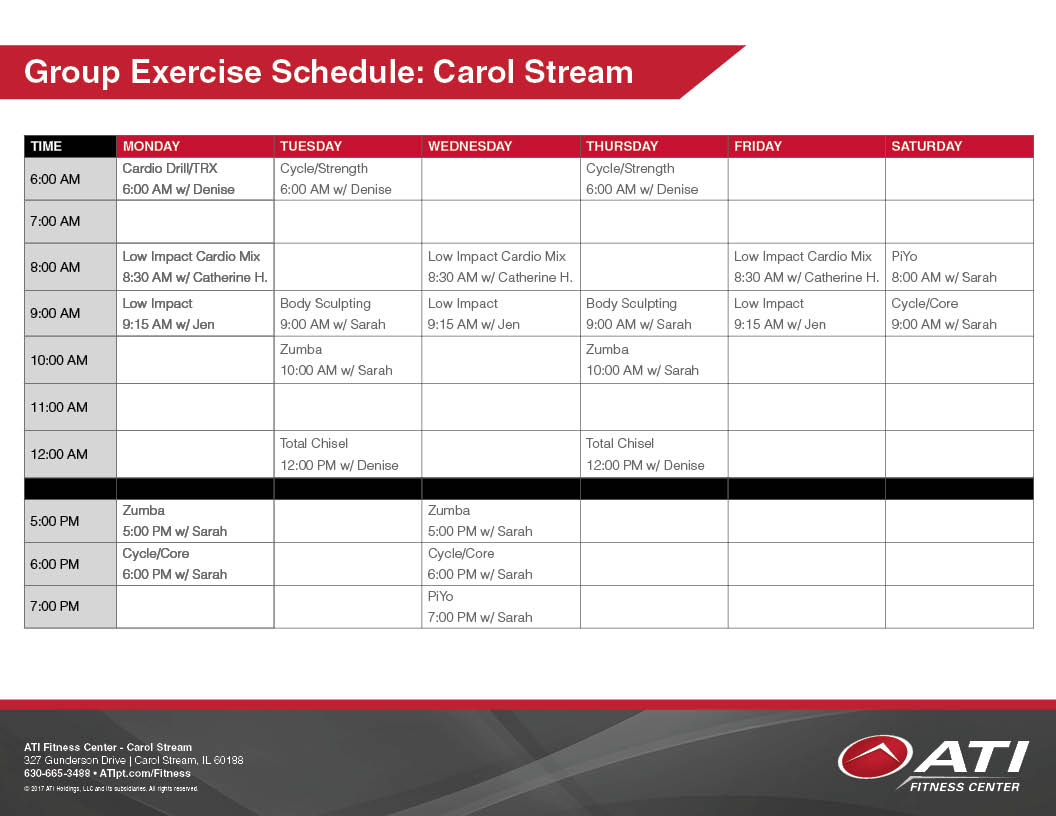 Carol Stream Group Exercise Schedule